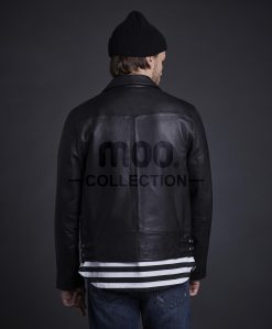 Tiger Biker Leather Jacket Black