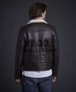 Tiger Biker Leather Jacket Brown